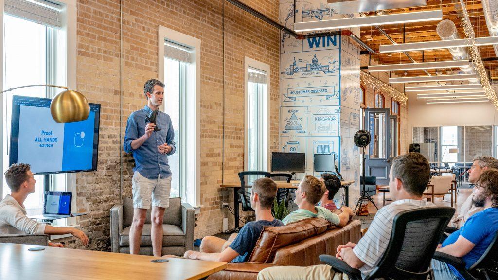 Educating in business meeting